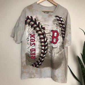 Boston Red Sox Tie Dye Liquid Blue Baseball Shirt